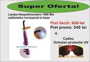 Imaginea Pachet promo: Lampa fotopolimerizare 1400 mW si ochelari protectie UV!