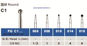 Imaginea Freze dentare extradure turbina globulare si con invers